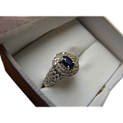 14K Sapphire And Pave' Diamond Ring - 14k White Gold