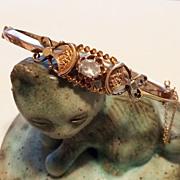 Antique 14K Rose Gold & Diamond Bracelet