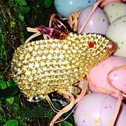 Vintage Easter Bunny Rabbit  Pin Brooch -  Signed BAUER