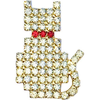 Vintage Rhinestone Kitty Cat Pin Brooch - Signed BAUER