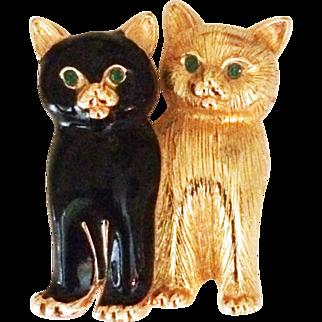 Cute Swarovski Enamel Kitty Cat Brooch Pin