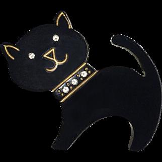 Art Deco Style Black Cat Brooch Pin
