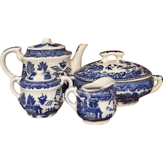 Blue Willow Child's Tea and Dinner Set - 28 Pieces