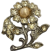 Vintage Rhinestone & Pearl Flower Brooch Pin