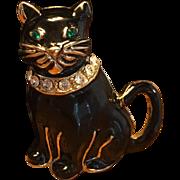 Vintage Black Enamel Rhinestone Cat Brooch Pin