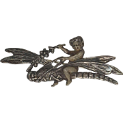 Fanciful Sterling Silver Art Nouveau Revival Dragonfly  Pin/Brooch