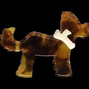 Cute Vintage Rootbeer or Tortoise Brown Plastic Dog Pin