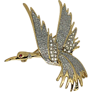 Vintage Rhinestone Bird Brooch Pin