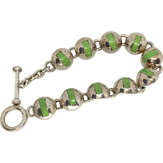 Vintage Green Gaspeite and Sterling Silver Bracelet