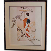 Joy Dunn Japanese Geisha Girl Lithograph Print Signed & Numbered