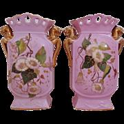 Pair Antique Old Paris Vases Vase Griffin Handles Floral Flowers c. 1870s Victorian Aesthetic Eastlake French France