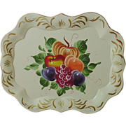 Large Vintage Hand-Painted Fruit Tole Serving Tray Pumpkin Plums Apple Peach Grapes