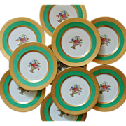 10 Green & Gold Encrusted Hutschenreuther Dinner Cabinet Plates Flower Floral Basket Selb Bavaria Stouffer Studio-Gold Gilt Gilded
