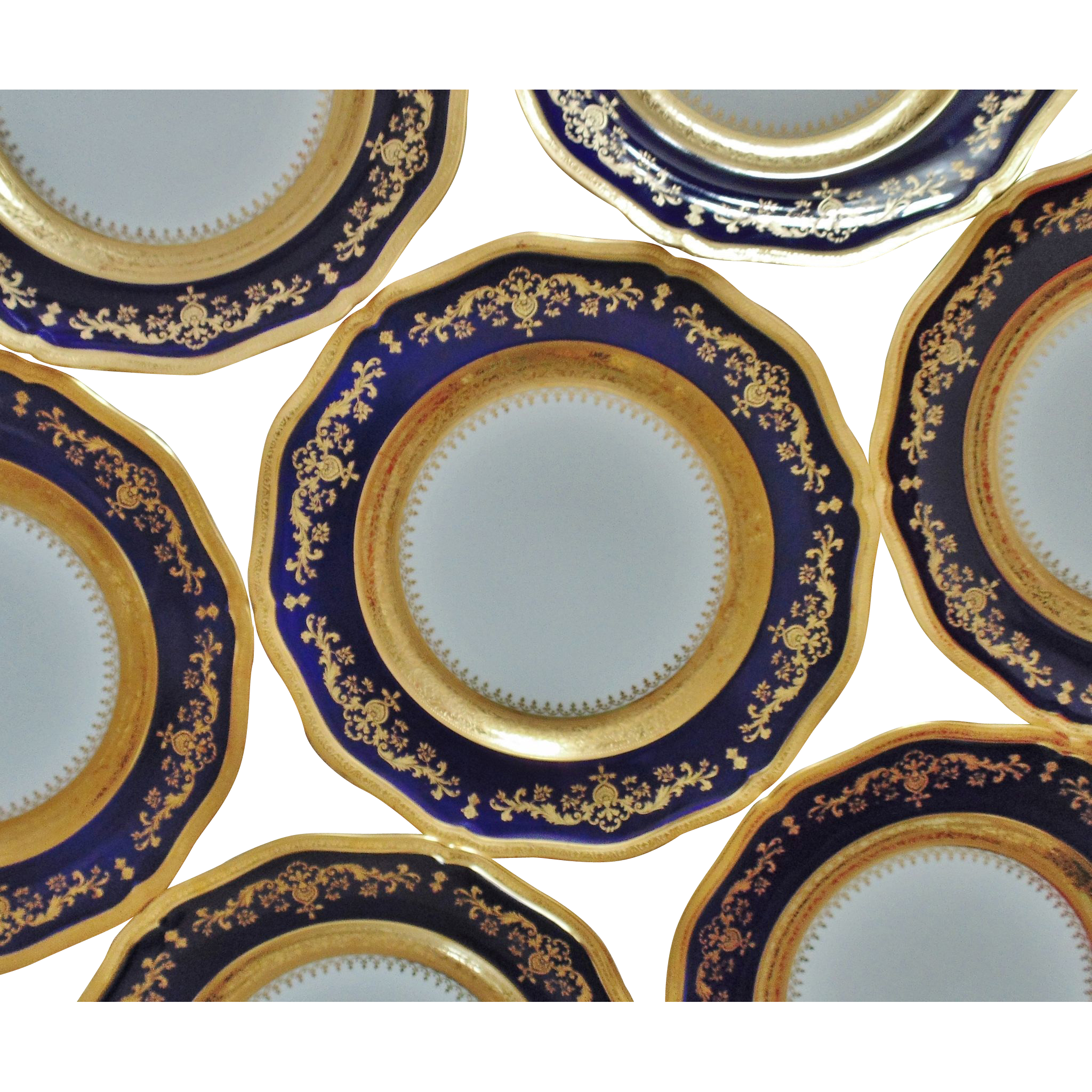 8 French Limoges Cobalt Blue Gold Encrusted Dinner Cabinet Plates Set  Coyote Moon Antiques | Ruby Lane : blue and white plate set - pezcame.com