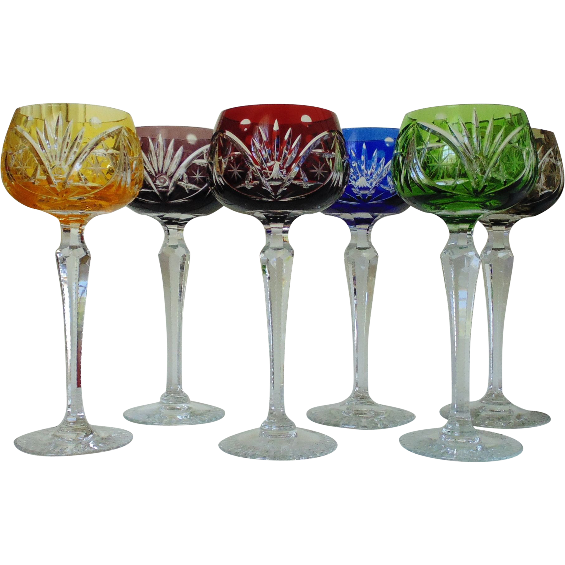 Set Of 6 Bohemian Cut To Clear Lead Crystal Glass Wine