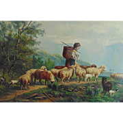 19c Sheep Lamb Child Landscape Painting Oil on Canvas Signed Christian Mali Well Listed German Artist Antique Animals Shepherd
