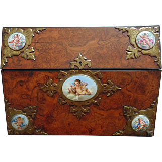 Antique English Burl Walnut Wood Slope Lap Desk Box w/ 5 Cherub Porcelain Plaques & Brass Fittings c. 1861 Victorian