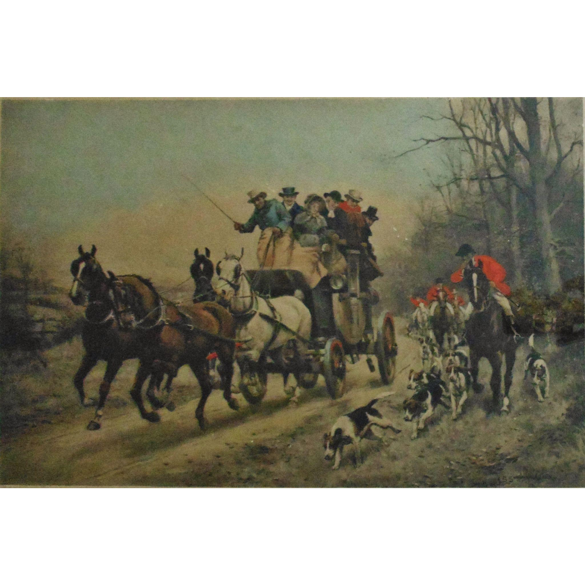 Rare Antique J S Sanderson Wells Fox Hunt Hunting Stage Coach Scene Hand Colored Print Making The Pace W Frame