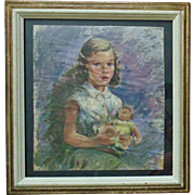 Sweet Little Girl with Doll Watercolor Painting Child Portrait
