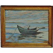 Antique Pastel Painting Rowboat Ocean & Birds at Sunset Row Boat
