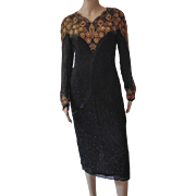Vintage Womens Black Silk Dress Formal Evening Cocktail Party Beaded Sequined Gold Beads Sequins Women's Ladies