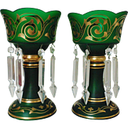 Pair of Art Nouveau Deco Bohemian Mantle Lusters Green & Gold Crystal Glass w/ Spear Prisms Mantel Lustres Candle Holders Candlesticks