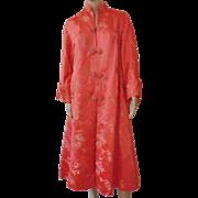 Vintage 1930s-40s Womens Ladies Chinese Silk Embroidered Robe Coat Kimono Salmon