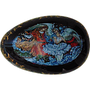 Vintage Russian Porcelain Egg Music Box Hand-Painted Fairytale Signed