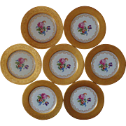 Set of 7 T & V French Limoges Dinner Cabinet Plates w/ Roses & 22k Gold Encrusted Tressemann Vogt France Floral Bouquet