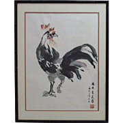 Modern Japanese Watercolor Rooster Painting Signed