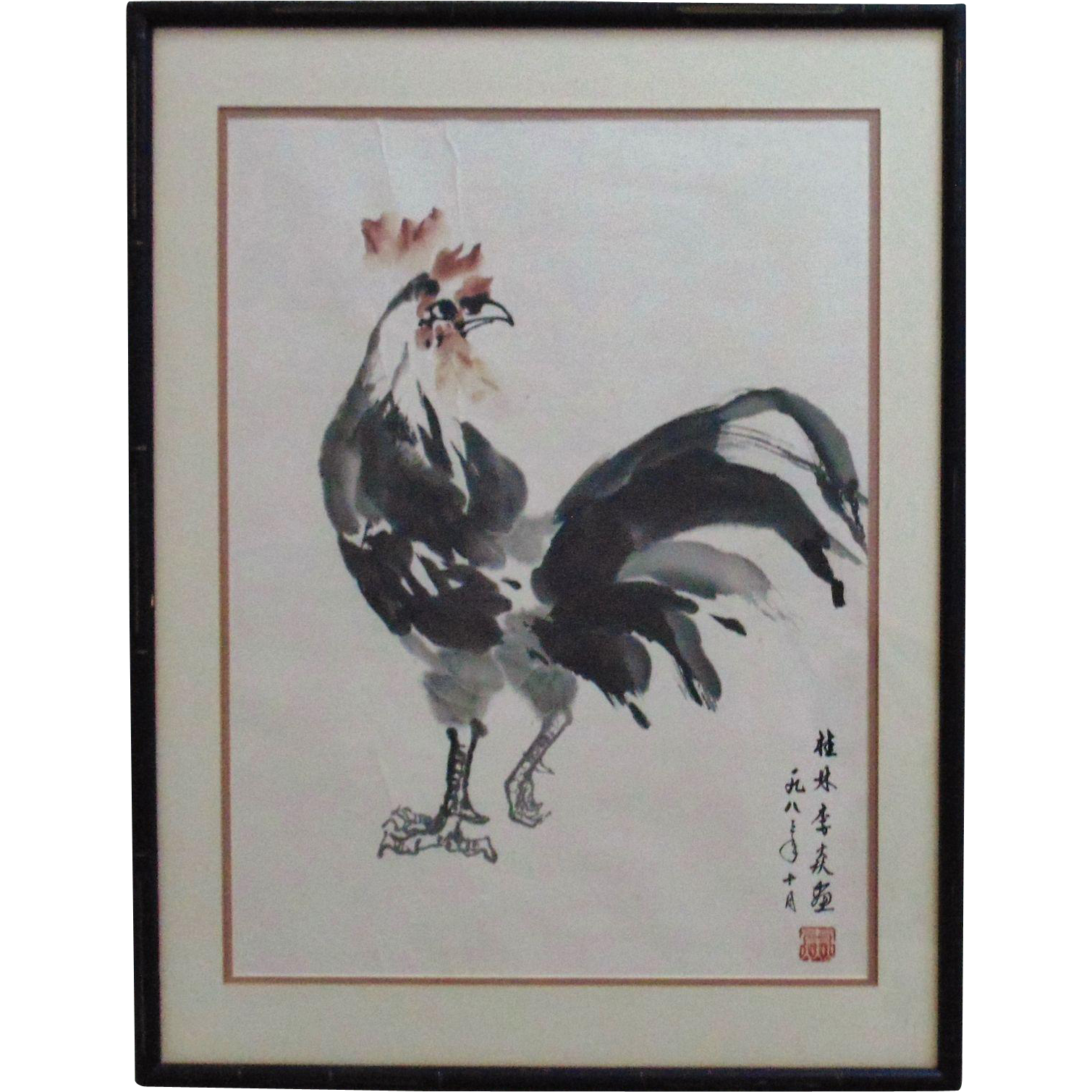Modern japanese watercolor rooster painting signed from for Japanese watercolor paintings