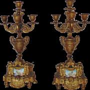 Single Antique French Victorian Gilt Bronze Mantle Candelabrum w/ Porcelain Cherub Putti Plaque Insert Aesthetic Eastlake Era Candelabra Candle Holders