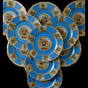 Set of 10 Epiag Royal Dinner Cabinet Plates Romantic Edwardian Scenes Blue & Gold Czechoslovakia Czech Bohemian #5559 Fine China