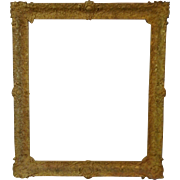 LARGE 19c Antique Gilt Wood & Gesso French Baroque Style Picture Frame for Painting Mirror