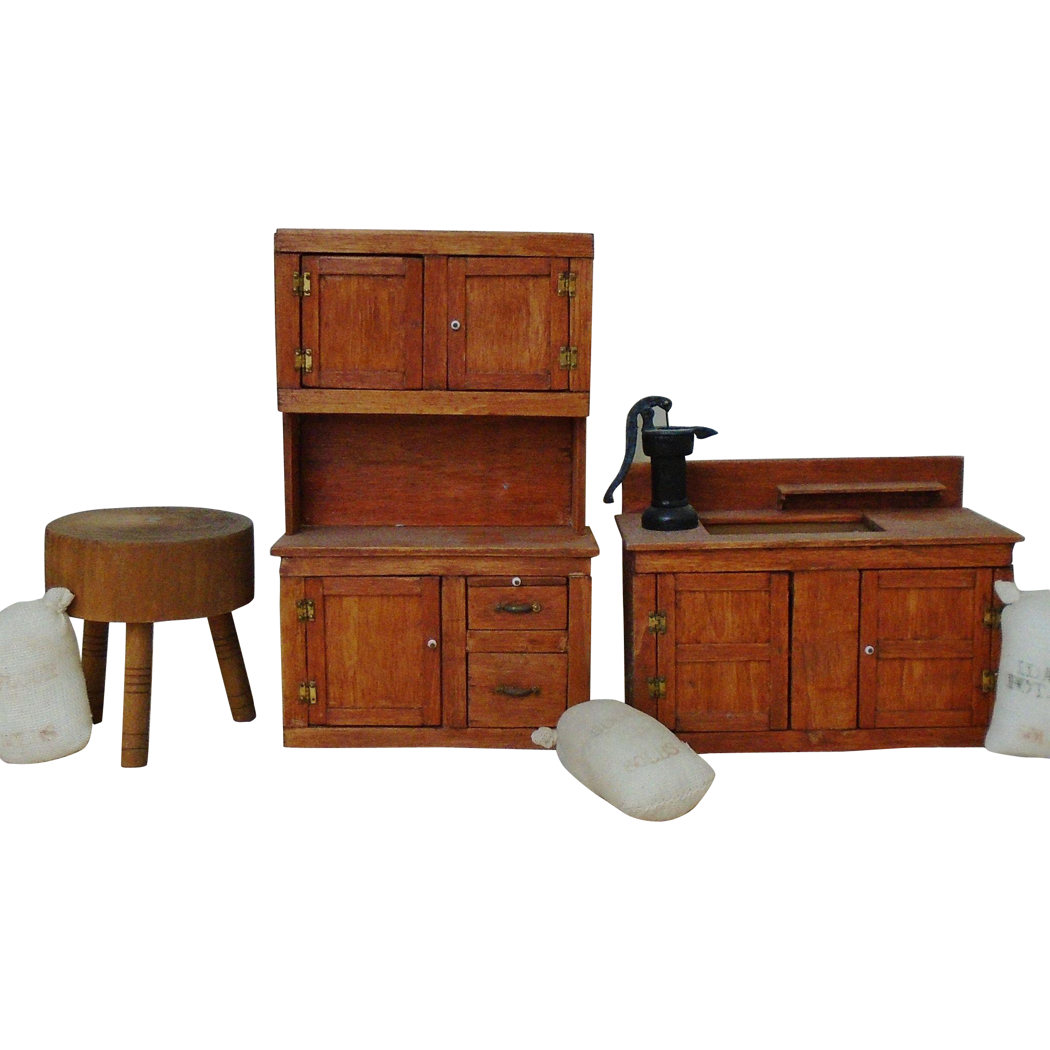 Kitchen Dollhouse Furniture Lot F Vintage Dollhouse Kitchen Wood Furniture Dry Sink Stepback