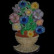 Hubley #470 Doorstop Petunias & Asters Flower Basket Floral Cast-Iron Door Stop