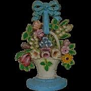 Hubley #189 Doorstop Flower Basket Floral Cast-Iron Door Stop