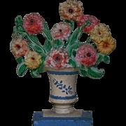 Hubley #316 Doorstop Flower Basket Floral Cast-Iron Door Stop