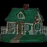 Hubley Cottage House with Flowers Doorstop Cast-Iron Door Stop Vintage
