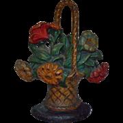 Antique Victorian Hubley Cast-Iron Doorstop Petunias & Daisies Flowers Floral Basket Door Stop