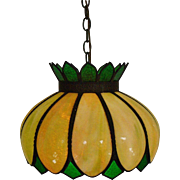 Gorgeous Vintage Chandelier Green Slag Stained Glass Bent Glass Light Fixture