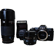 Minolta 7000 Maxxum Camera w/ 2800 AF Flash & AF Lens 35-70 & AF Lens 70-210 Parts PLUS EXTRAS!