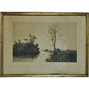 Antique Landscape Etching Charles Klackner copyrighted 1888