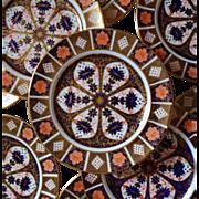"""Set of 6 Royal Crown Derby Old Imari #1128 Dinner Cabinet Plates c. 1930 10 3/8"""" Vintage"""