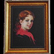 Antique Pastel Portrait Girl Woman w/ Gilt Wood Picture Frame Illustration Signed