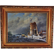 Holland Dutch Landscape Oil Painting Signed Ross Steffan Winter Scene in Gilt Wood Frame
