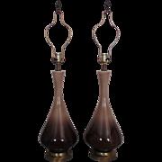 Pair Mid Century Modern Drip Glaze Pottery Table Lamps Retro Eames Era