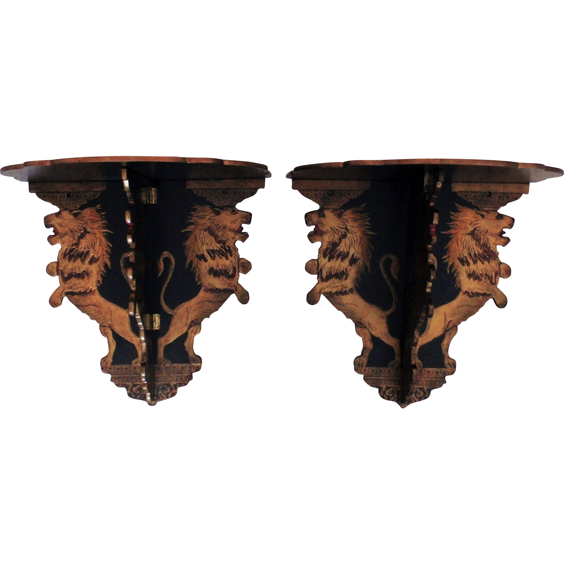1 of 2 19c asian lion painted 3 part lacquer wood wall shelves 1 of 2 19c asian lion painted 3 part lacquer wood wall shelves shelf lions oriental orientalia amipublicfo Gallery