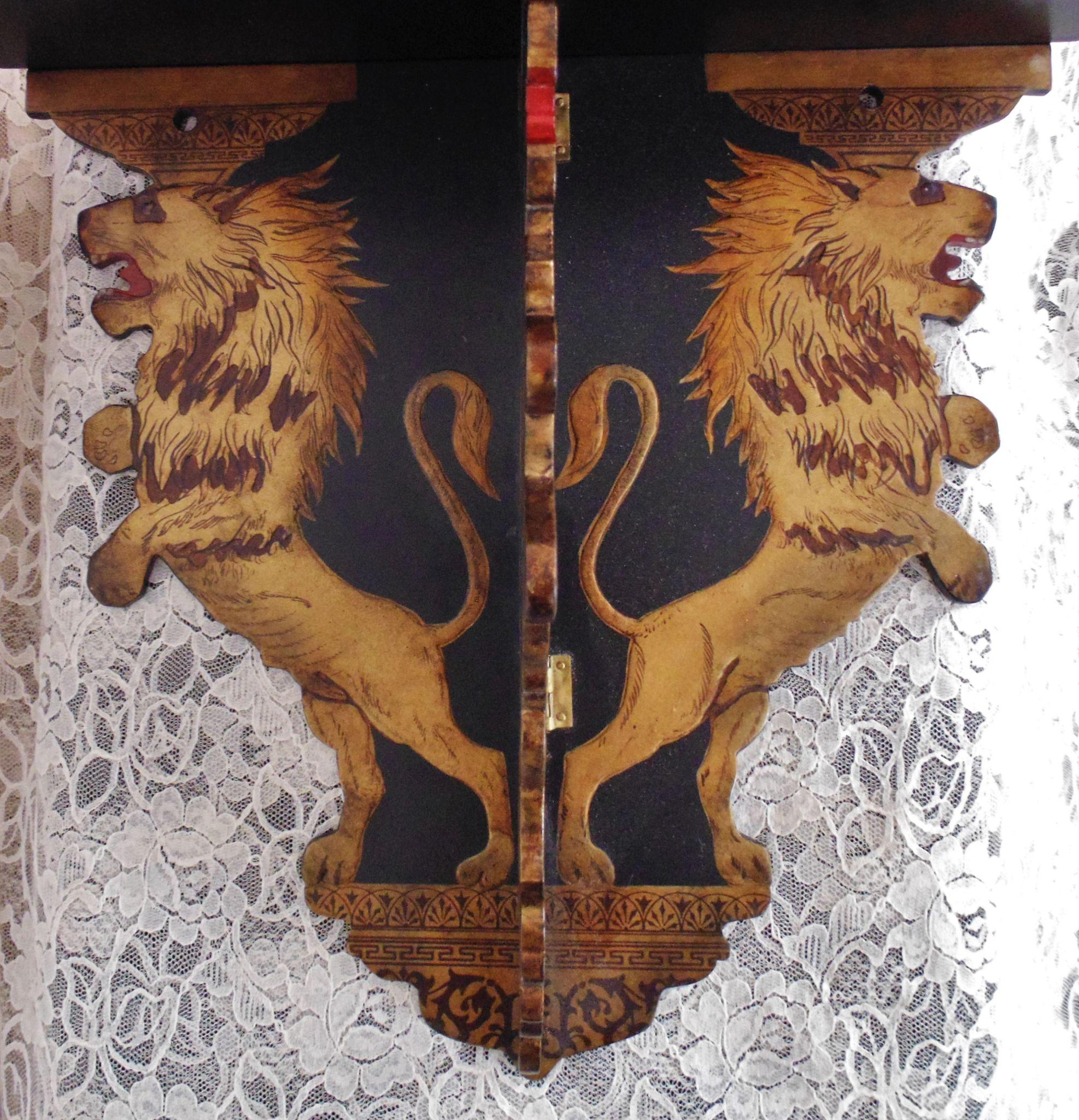 1 of 2 19c asian lion painted 3 part lacquer wood wall shelves roll over large image to magnify click large image to zoom amipublicfo Gallery