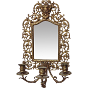 19c Antique Wall Beveled Mirror Candle Holder Sconce Brass North Wind Victorian Candelabra Candelabrum Aesthetic Eastlake